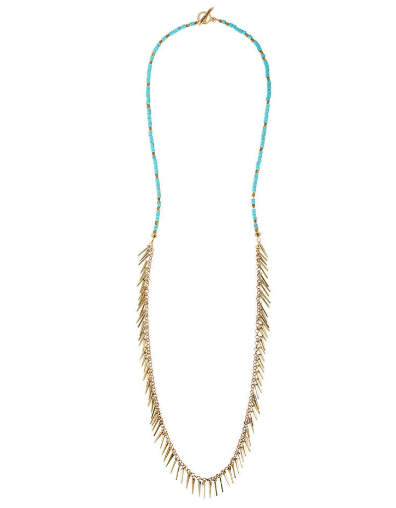 Jenny Bird Palm Rope Necklace in Turquoise - SWANK - Jewelry