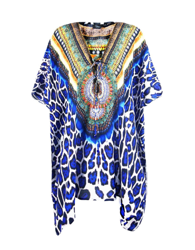 Shahida Parides Jaguar Lace Up Short Kaftan in Blue - SWANK - Dresses