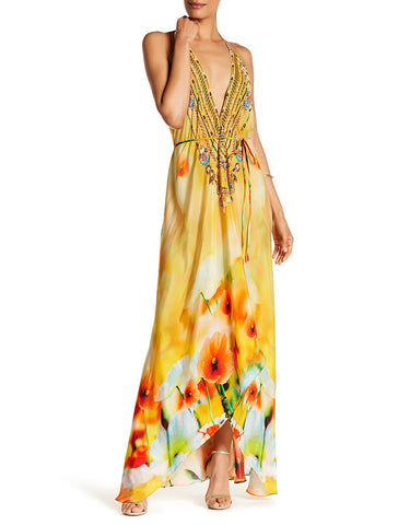 Shahida Parides Poinsettia 3 Way Style Long Dress in Creme Souffle