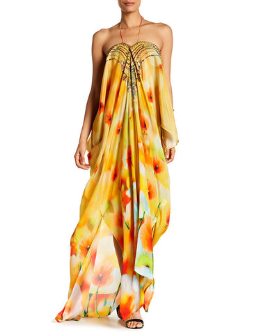 Shahida Parides California Poppy Creme Souffle 3 Way Style Long Lace-Up Kaftan