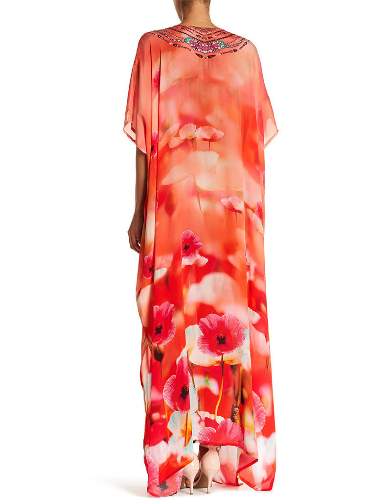 Shahida Parides California Poppy Georgia 3 Way Style Long Lace-Up Kaftan