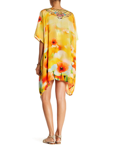 Shahida Parides California Poppy Creme Souffle 4 Way Style Medium Lace-Up Kaftan
