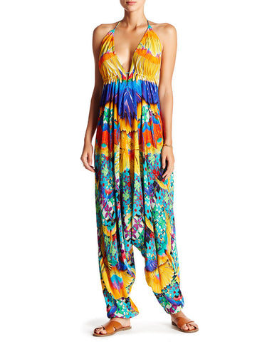 Shahida Parides Crochet Harem Jumpsuit in Papaya