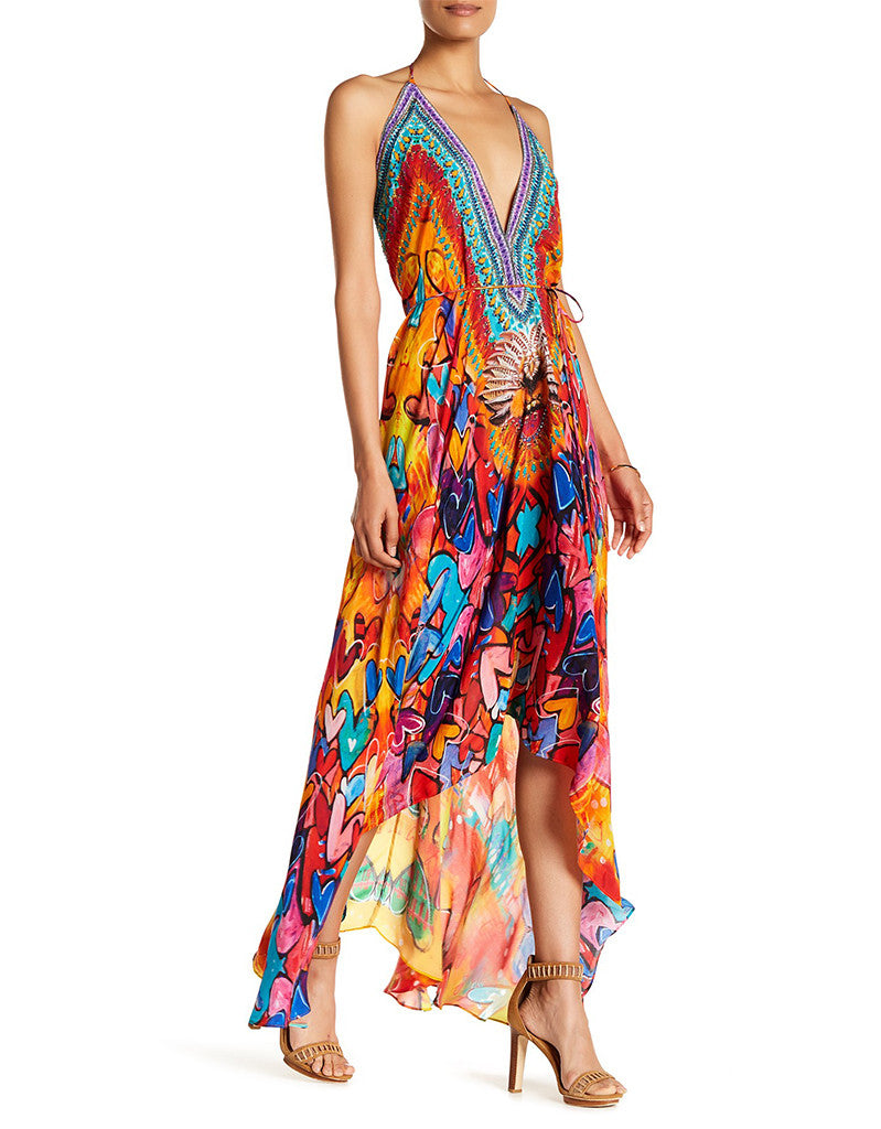 Shahida Parides Heart 2 Heart 3 Way Style Long Dress in Merlot