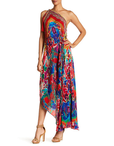 Shahida Parides Heart 2 Heart 3 Way Style Long Dress in Poinsettia