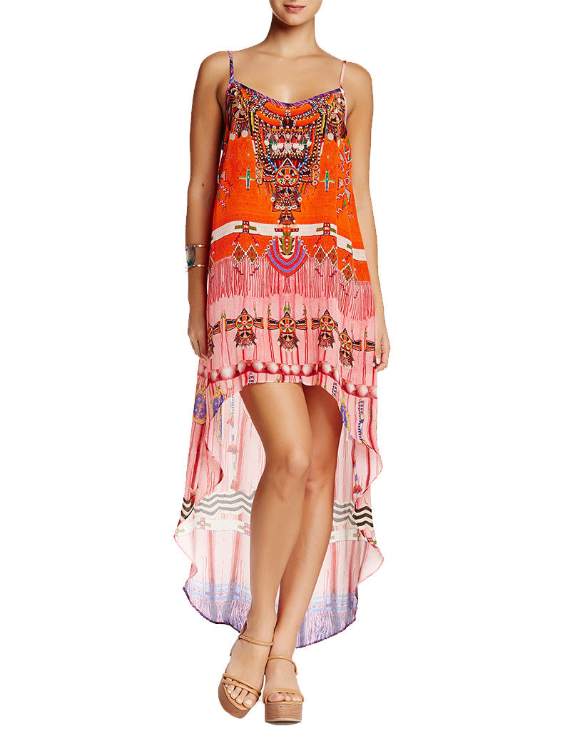 Shahida Parides Navajo High Low Dress in Red