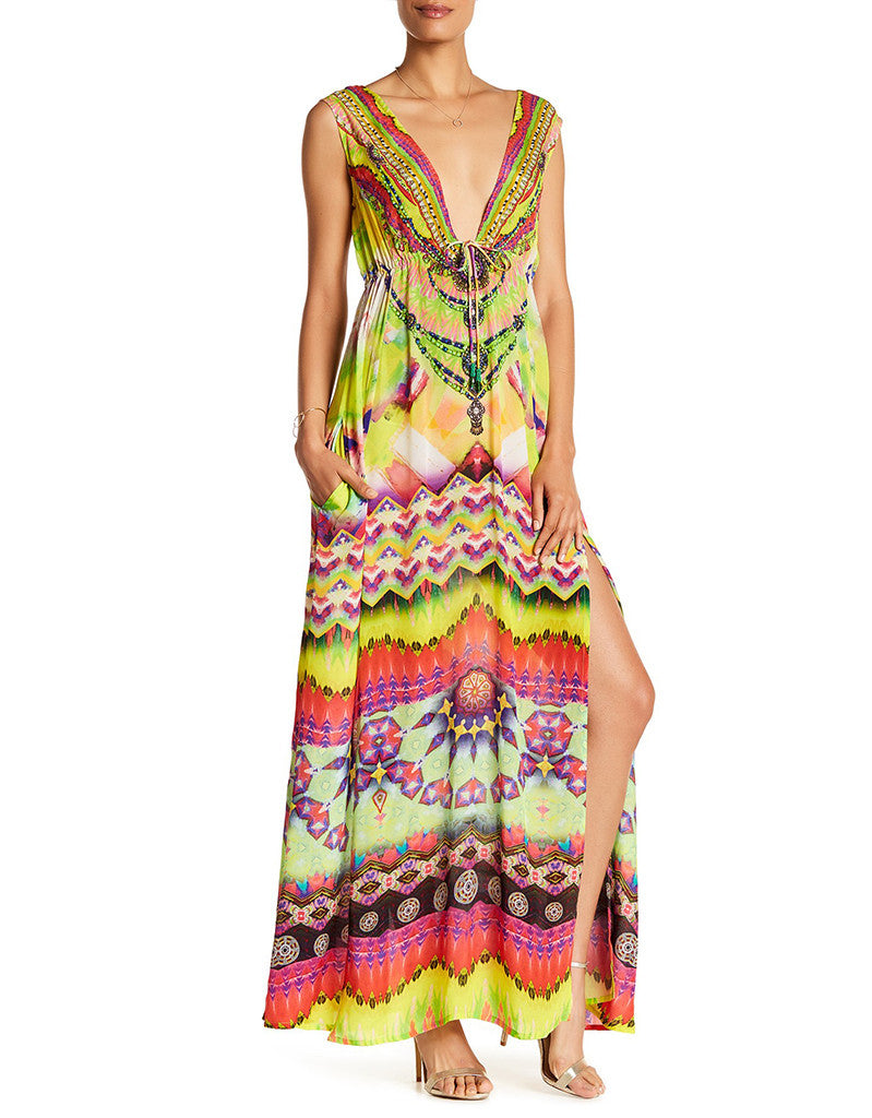 Shahida Parides Sarina Long V-Neck Maxi Dress in Yellow