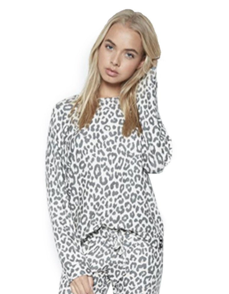 Michael Lauren Percy Classic Pullover in Charcoal Leopard - SWANK - Tops - 2