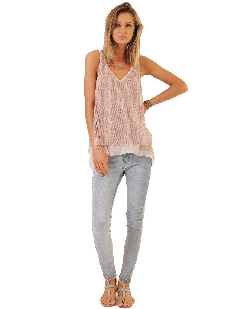 SW3 Bespoke Piper Knit Tank with Chiffon Hem - SWANK - Tops - 2
