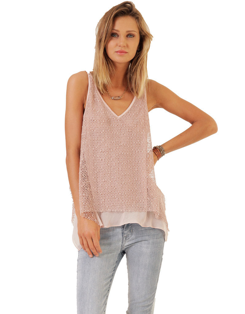 SW3 Bespoke Piper Knit Tank with Chiffon Hem - SWANK - Tops - 1