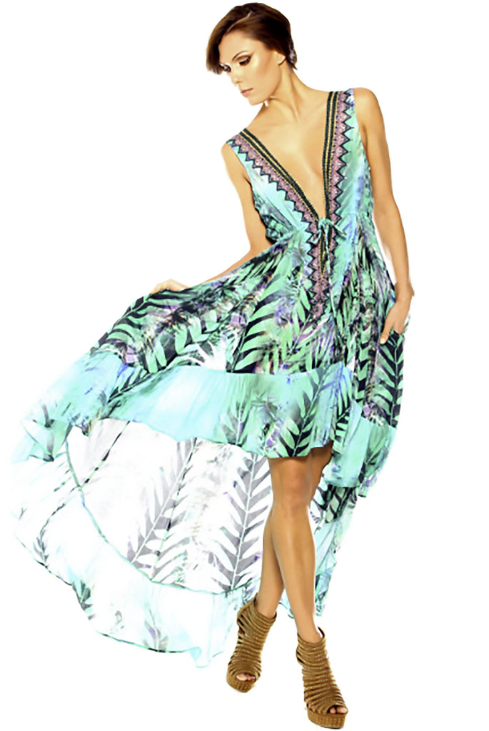 Shahida Parides Queen Palm High-Low Dress with Plunging V-Neck in Aqua - SWANK - Dresses - 2