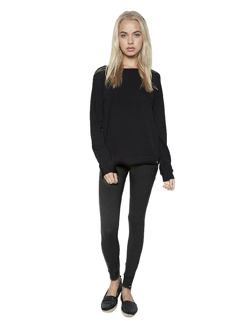 Michael Lauren Quinto Ribbed Knit Legging in Caviar - SWANK - Pants - 1