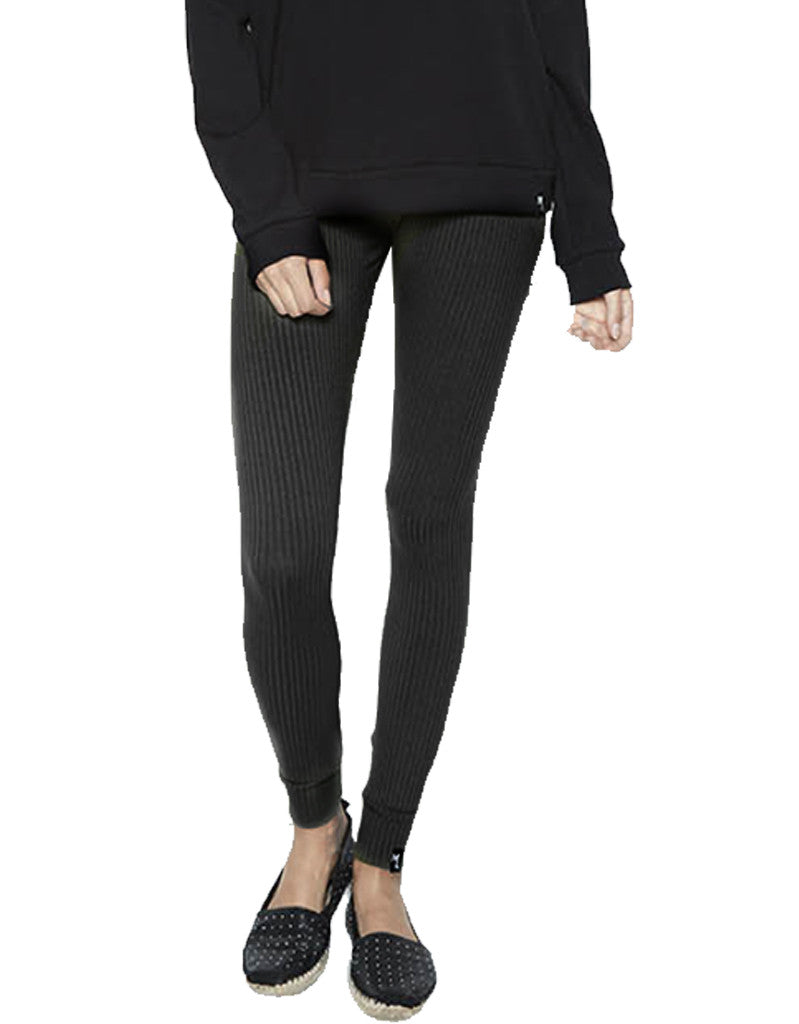 Michael Lauren Quinto Ribbed Knit Legging in Caviar - SWANK - Pants - 2