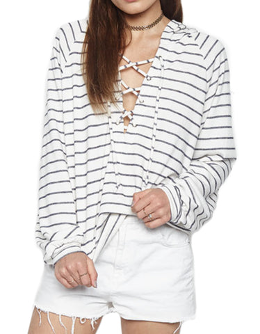 Michael Lauren Raiden Mid-Length Lace Up Hoodie in Creme Navy