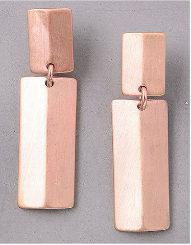 Vintage Snoot Double Rectangle Earrings in Matte Rose Gold