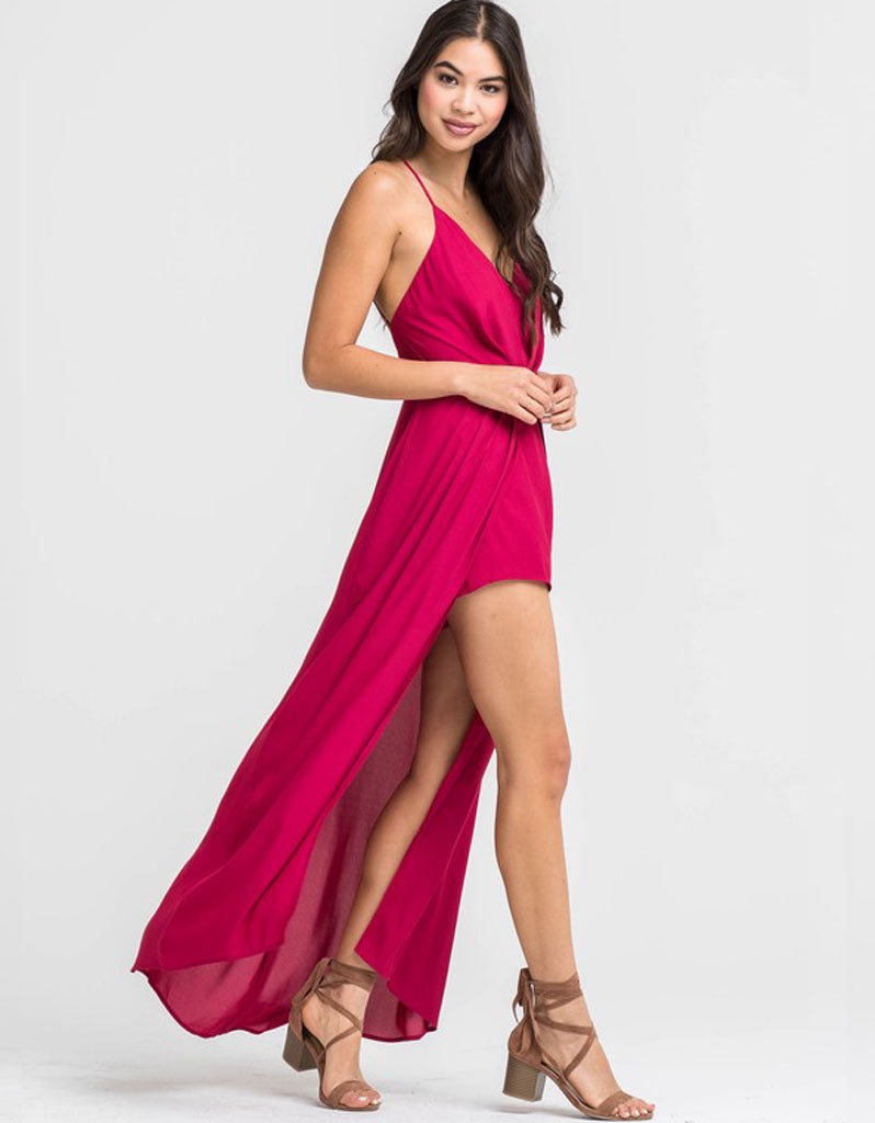 Therone Open Hi-Low Maxi Romper in Persian Red
