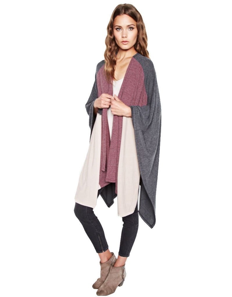 Michael Lauren Reeves Colorblock Blanket Wrap - SWANK - Tops - 1