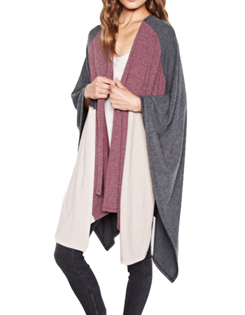 Michael Lauren Reeves Colorblock Blanket Wrap - SWANK - Tops - 2