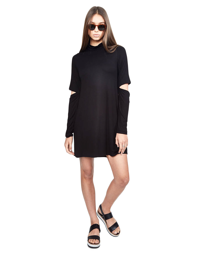 Michael Lauren Rent Mock Neck Dress w/Elbow Slits