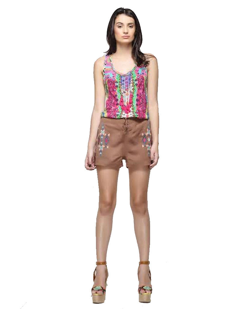 Rococo Sand Mexico Print Tank Top - SWANK - Tops - 1