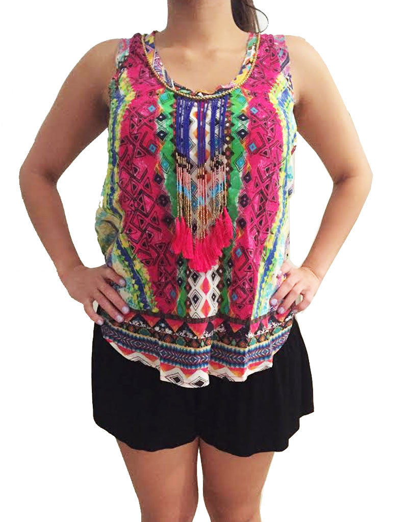 Rococo Sand Mexico Print Tank Top - SWANK - Tops - 2