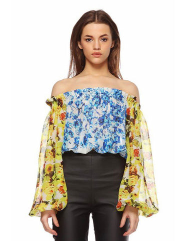 Rococo Sand Romantic Florals Off the Shoulder Top