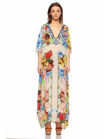 Rococo Sand Romantic Florals Long Dress