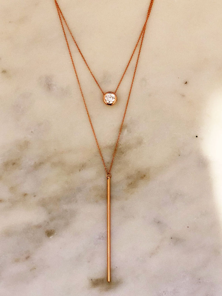 Luxe Oval Double Y Necklace in Rose Gold