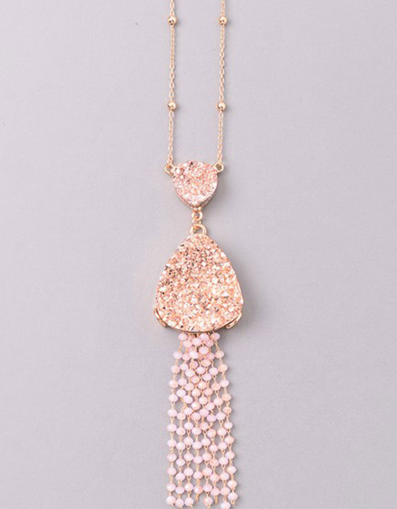 Vintage Snoot Starfringe Double Druzy Necklace in Rose Gold