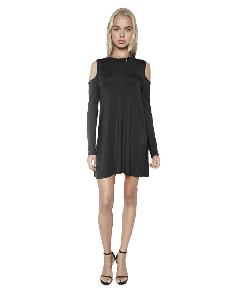Michael Lauren Radford L/S Open Shoulder Dress in Black - SWANK - Dresses - 1