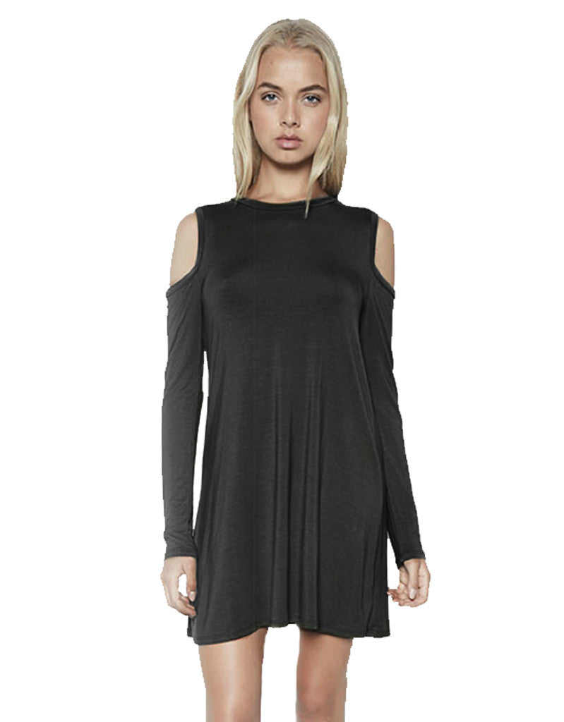 Michael Lauren Radford L/S Open Shoulder Dress in Black - SWANK - Dresses - 2