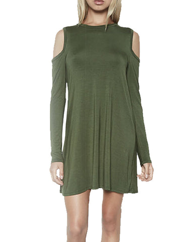 Michael Lauren Radford L/S Open Shoulder Dress in Military