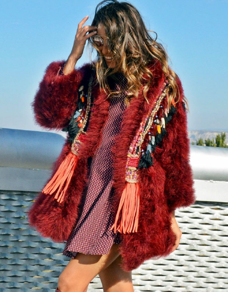 Fur Coat with Embellishment in Red - SWANK - Outerwear - 1