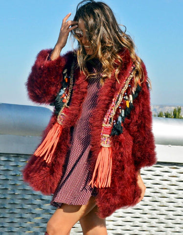 Fur Collar w/Tassels in Blue