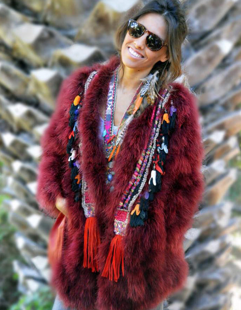 Fur Coat with Embellishment in Red - SWANK - Outerwear - 3