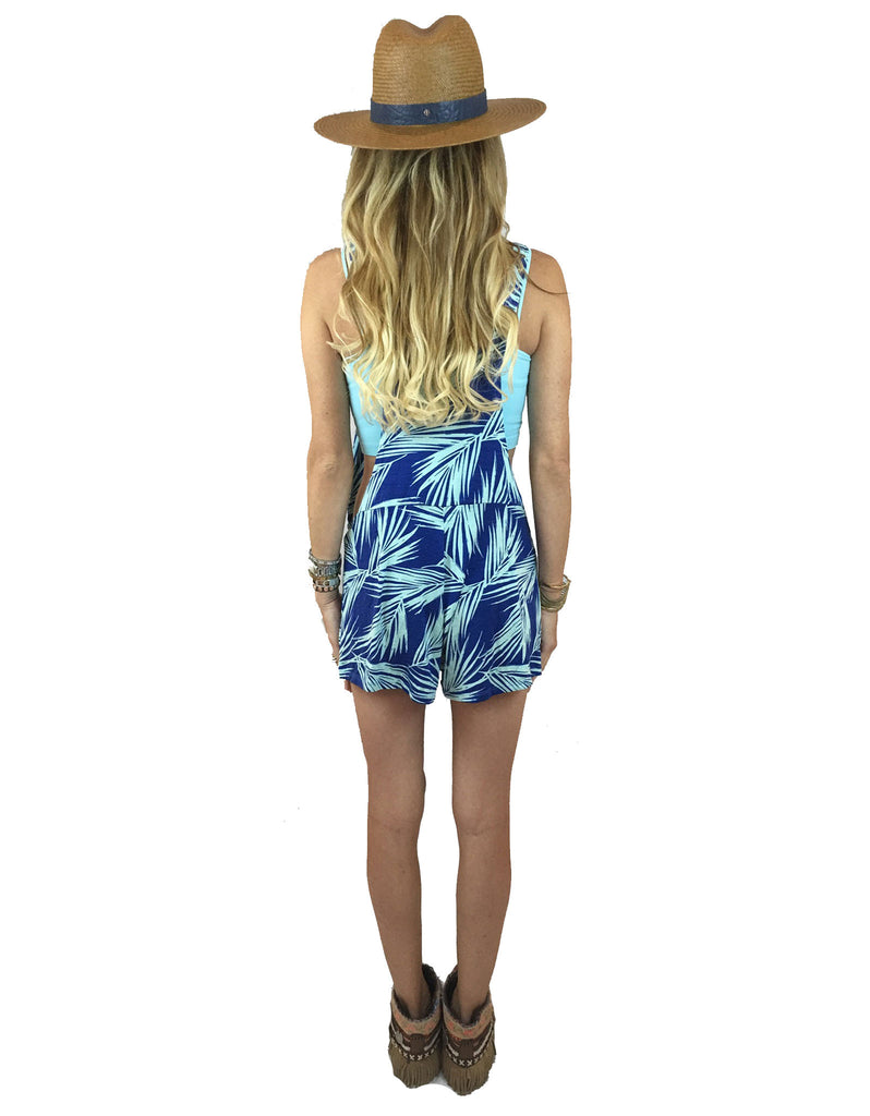 Michael Lauren Ridley Shorts Overalls in Royal Palm Tree - SWANK - Shorts - 4