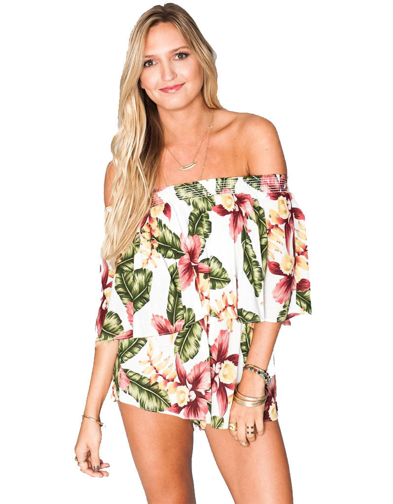 Show Me Your Mumu Rosarita Romper in Aloha Blooms Cloud - SWANK - Jumpsuits - 1