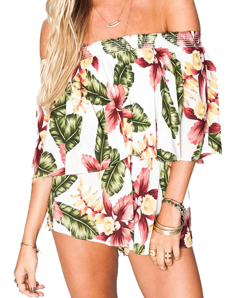 Show Me Your Mumu Rosarita Romper in Aloha Blooms Cloud - SWANK - Jumpsuits - 2