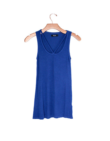 Michael Lauren Royce Cutout V-Neck Tank in Ink Blue