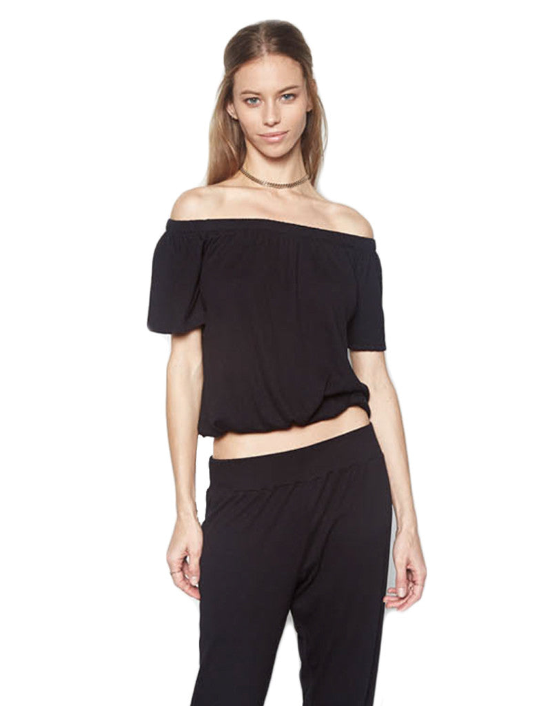 Michael Lauren Salvador Off The Shoulder Top in Black