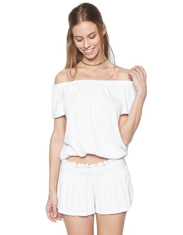 Michael Lauren Salvador Off The Shoulder Top in White