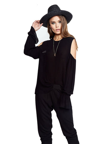 Michael Lauren Sam Open Shoulder Top in Coal