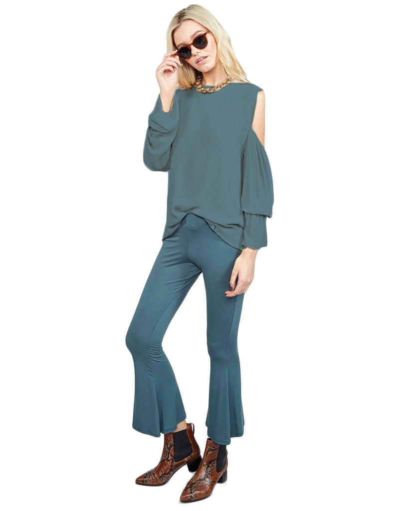 Michael Lauren Sam Open Shoulder Bell Sleeve Top in Admiral Green