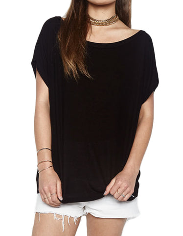 Michael Lauren Santi Off The Shoulder Tee in Black