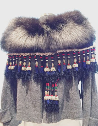 Fur Collar w/Tassels in Silver Fox