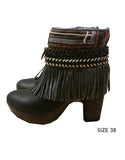 Boho Custom Made High Heel Boots - Black - SWANK - Shoes - 8