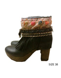 Boho Custom Made High Heel Boots - Black - SWANK - Shoes - 9
