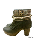 Boho Custom Made High Heel Boots - Black - SWANK - Shoes - 7