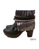 Boho Custom Made High Heel Boots - Black - SWANK - Shoes - 10