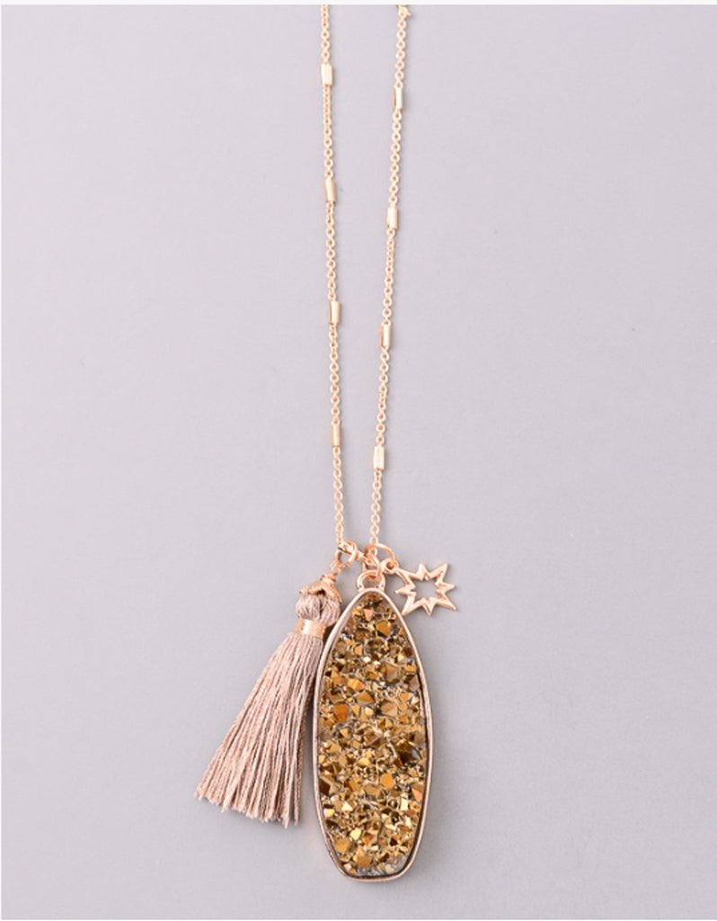 Vintage Snoot Starfire Druzy Necklace in Gold